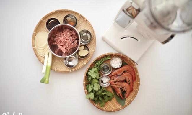 コンパクトキッチンマシン+マルチブレンダーで作る 定番&海老パク餃子のタネ