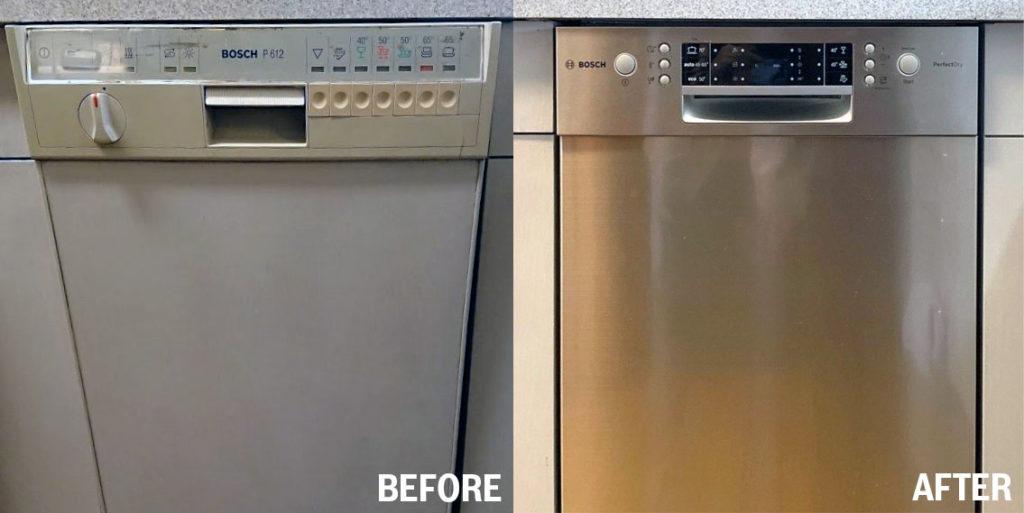 長年お使いいただいたボッシュの食洗機を最新のモデルに交換。元のキッチン にぴったりと収まりました。